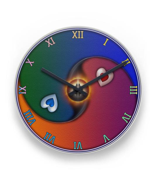 Yin Yang Sun Valentine Love QC Wall Clock